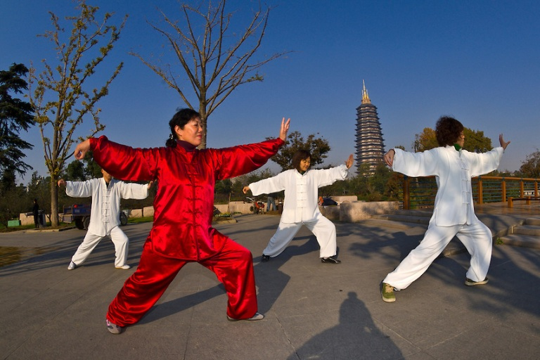Tai chi, Red Plum Park, Tianning Pagoda in background,  Changzhou, China