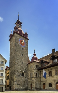 Town Hall clock tower in Lucerne built between 1602 and 1606 by Anton Isenmann in the Italian Renaissance style