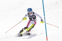 Bernadette Schild of Austria races to a third place in the FIS World Cup slalom race at Squaw Valley Resort in Olympic Valley, California, March 11, 2017.