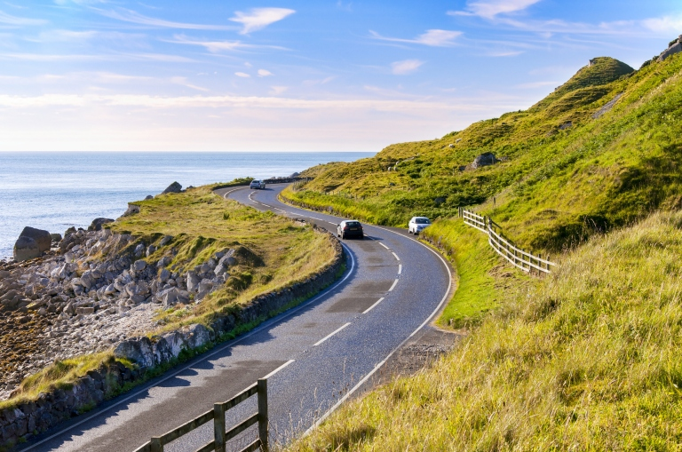 Antrim Coastal Road in Northern Ireland, UK