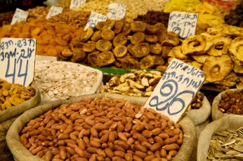 Nuts on sale at the Shuk