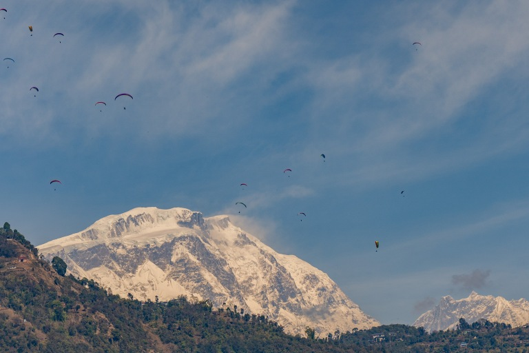 Paragliders in Pokhara
