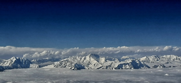 View of Annapurna and Fishtail mountains from the plane