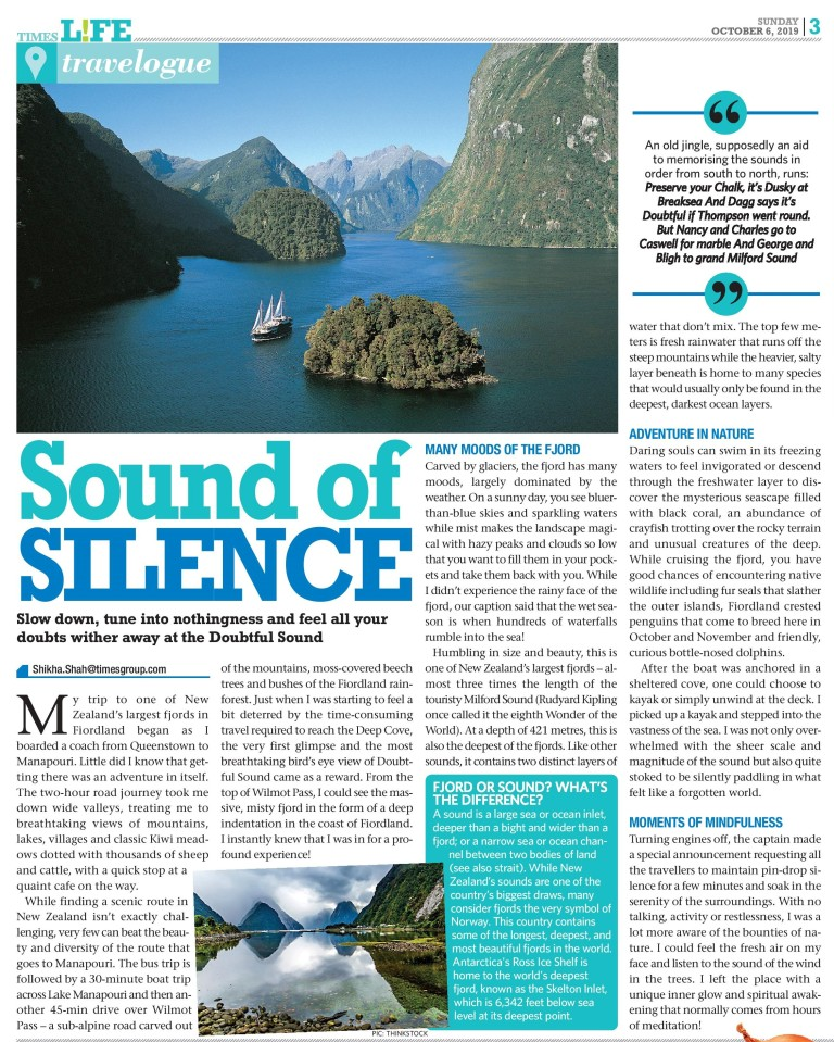 Doubtful Sound, October 6, 2019 - Times Life