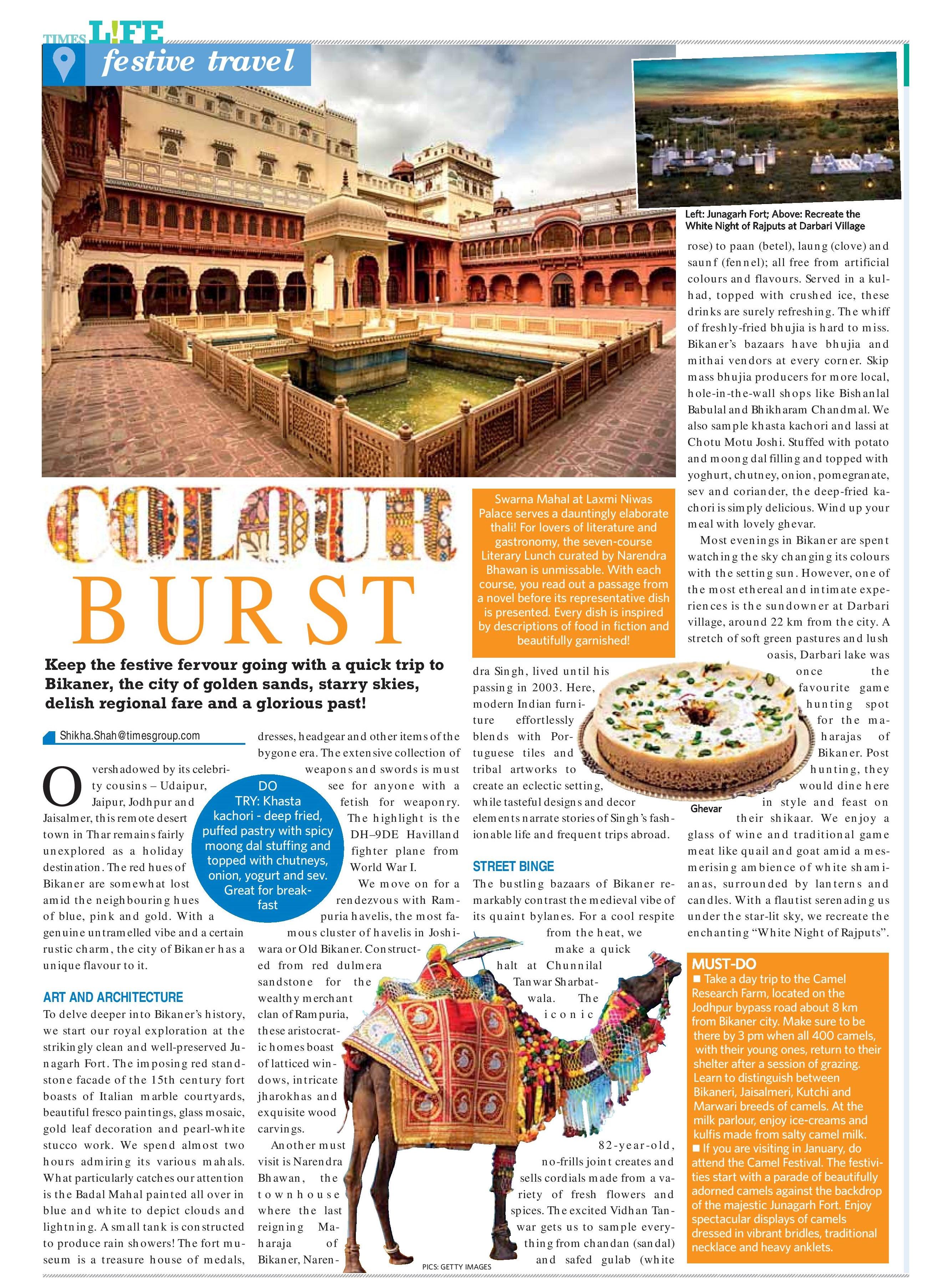 Bikaner, Times Life, November 3 ,2019