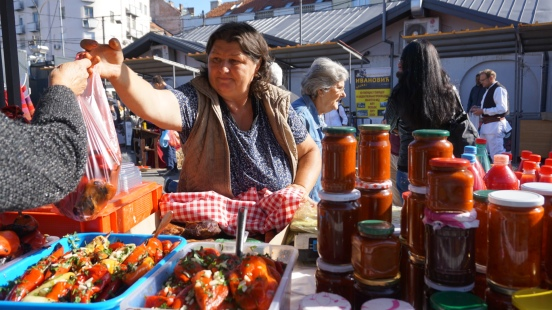 Woman selling Ajvar Kalenic Pijaca
